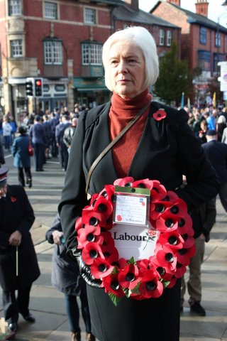 Cllr Sue Coleman laying a wreath on behalf of the Leek Labour Party